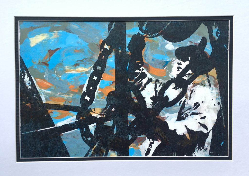 Abstract screen print of a figure working on the deck of a ship