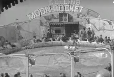 A still from a black and white film of Hull Fair, 1938