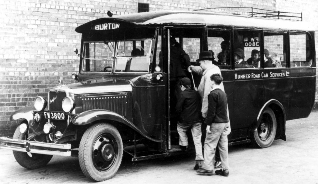 Humber Road Car Motorcoach outside the Blue Bell Hotel, around 1950
