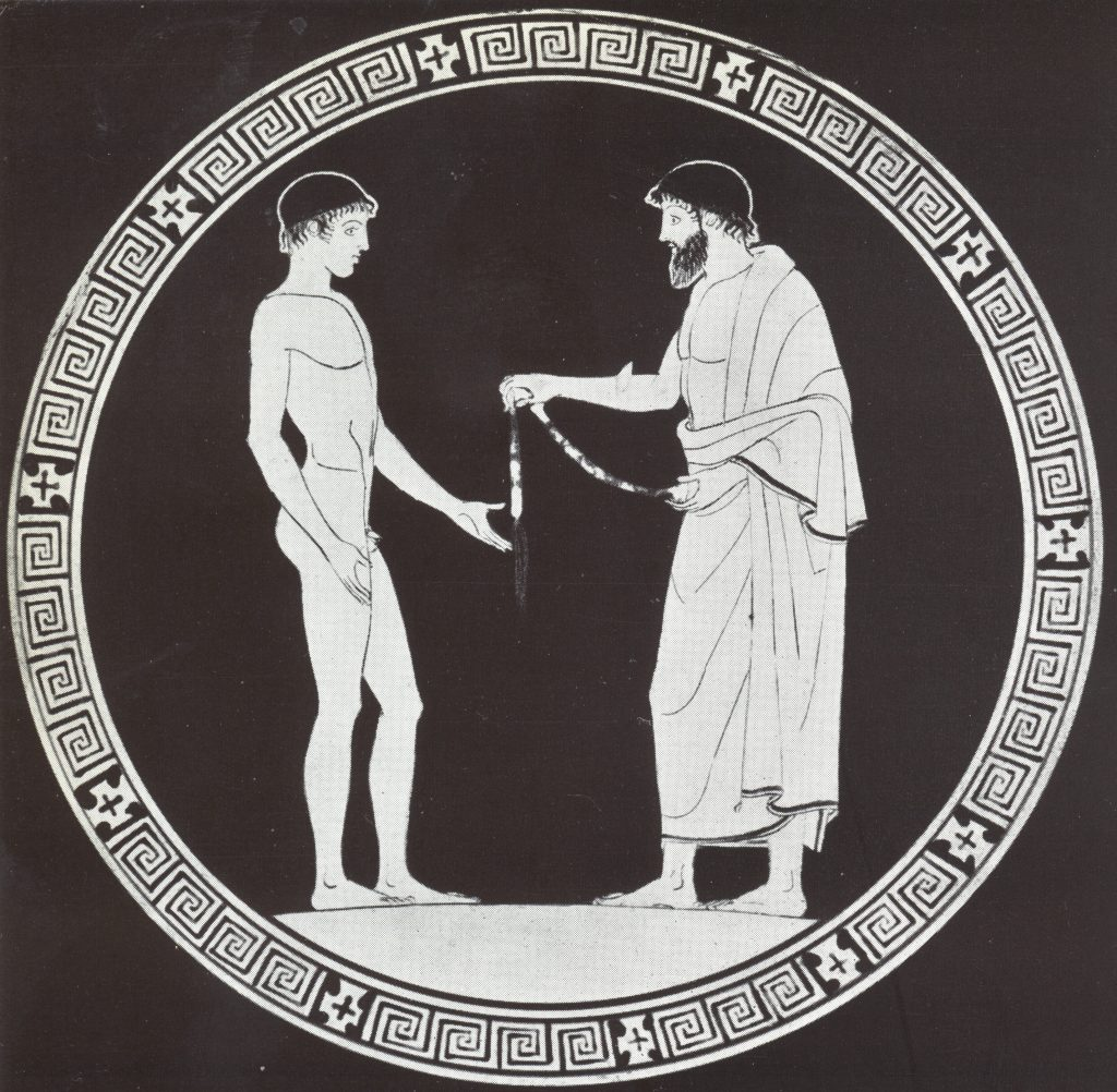 Judge handing Victor fillet of wool taenia Red-figure Bowl early C5thBC