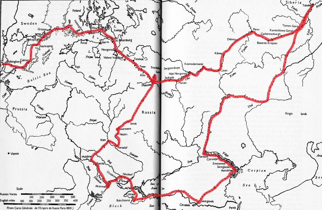 Map of the Reverend Parkinson's North East European Tour