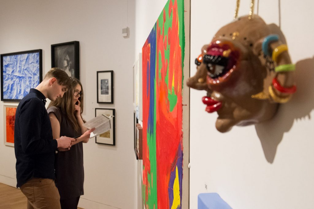 People viewing art at the 2020 Open preview night