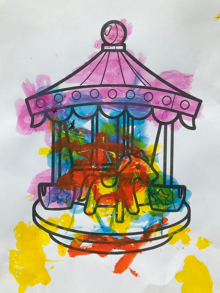 A child's drawing of a merry-go-round