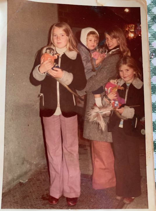 A photograph sent in by Ria Doll of her family with monkeys