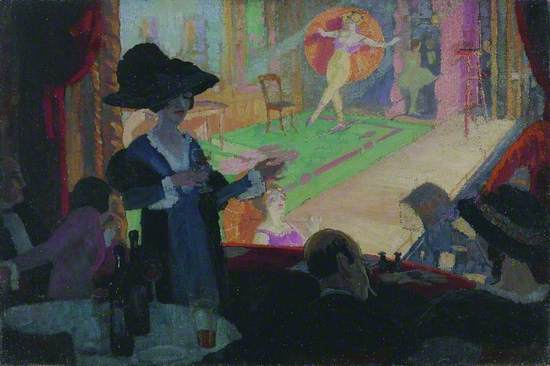 Modernist pre-War scene in at a Berlin cabaret theatre, the Wintergarten, with a group of bohemian figures seated in a theatre box around a table of drinks and bottles, with a pair of opera glass and a kid glove lying on the balcony front which is covered in deep red plush with a matching curtain at the side. A couple is seated either side of a theatrical young woman standing in a deep blue dress, with black stole and a large blue and black hat above her pale rouged face, holding a wine glass in one hand and a cigarette in the other, standing in front of a floodlit stage on which variety artists and dancers are performing, one is tightrope walking across it in leotard, ballet shoes and holding a large orange parasol behind her.