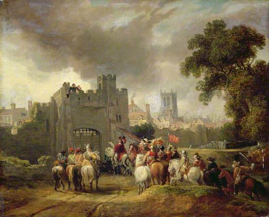 a painting showing King Charles 1st and his troops on horseback outside the closed Beverley Gate in Hull. Sir John Hotham can be seen above on the gate's ramparts denying them entry.
