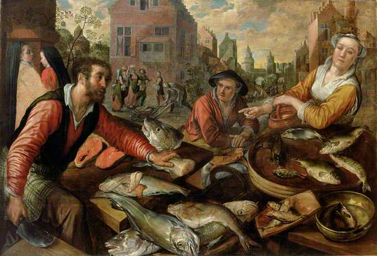 Flemish genre scene of a fish market in Antwerp, with cityscape and images of the delivery and transport of the fish to the stallholder, who is cutting fish to sell to a young woman holding a handled pot.