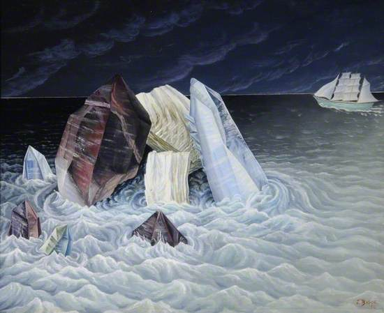 A seascape of arctic icebergs and dark sea with moonlit boat and horizon