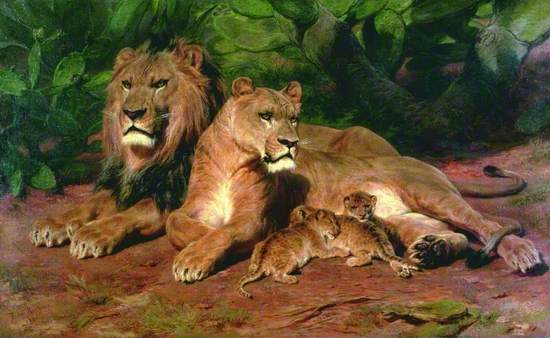 Oil on canvas painting of a lion and lioness with three cubs seated on red earth with green jungle foliage behind