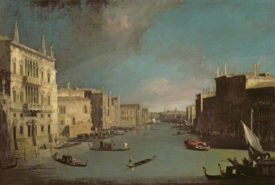 Oil on canvas showing a Venetian canal scene, with architectural detail and a view of canal life. Long perspective with strong sunlight on the facades on the left and strong shade on facades to right with storm clouds gathering top left.