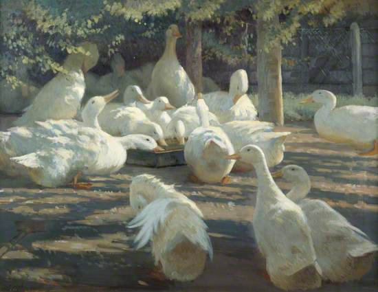 Oil on canvas of a group of white ducks in a farmyard coup, some shaded by trees while others drink from a water trough in full sunlight.