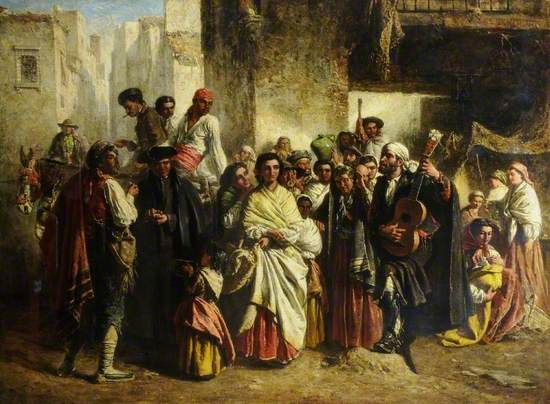 Painting showing a crowded Spanish hill town with group gathered around gypsy troubadour playing the guitar and singing, outside an inn