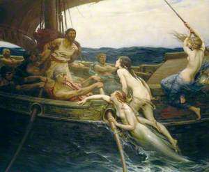 Oil on canvas romantic scene of a ship at sea with rowers and a man lashed to the mast. Naked mythological female figures, one with a mermaids tail, are climbing over the side of the ship