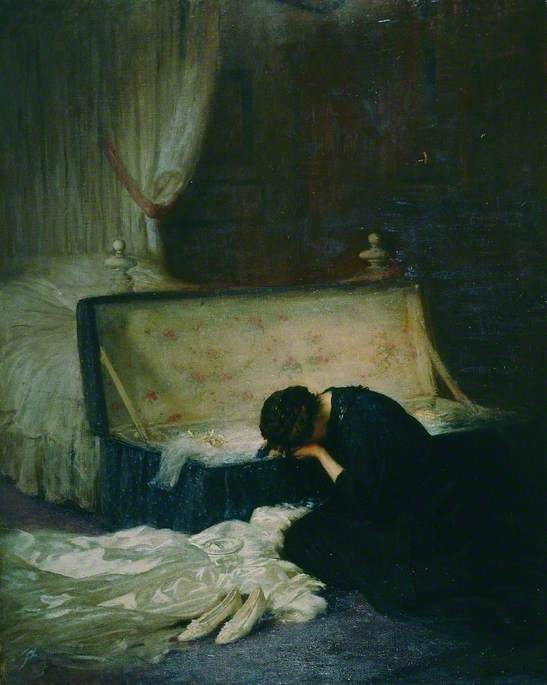 Oil on canvas showing a dark bedroom interior with white bed and bed curtains. A woman is sat on the floor leaning over the side of a chest, with her head in her hands weeping. A satin wedding dress and shoes lie on the floor.