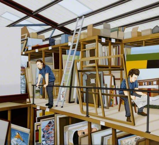 painting of a gallery art store interior with mezzanine level wood frame racking, stacked with picture canvases and boxes stored above beneath a glazed roof, with a ladder leaning against the side of the upper racking, while two technicians relax around the upper balcony, one standing leaning against the side rail and another seated in a chair reading a newspaper at the near end. Further racking can be seen below similarly stacked with pictures
