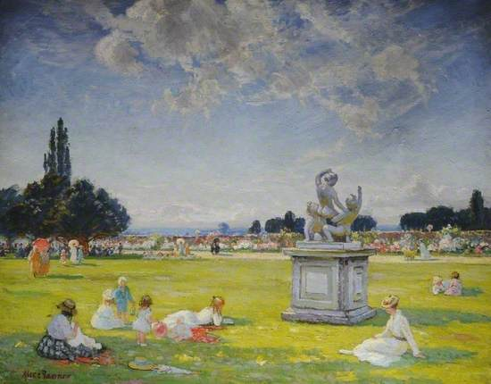 Edwardian park scene at Hampton Court with women and children seated around a classical statue of naked cherubs on a square stone plinth with gardens and trees