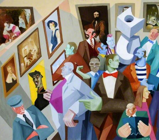 Luminous coloured cubist style painting of a private view at the Ferens Art Gallery, Hull, with crowd of viewers of all shapes and sizes confined within a small corners space of the gallery with recognisable works of art from the gallery collection lining the walls and abstract sculpture at the centre of the room. A uniformed gallery attendant is standing with downcast eyes and arms folded, possibly asleep on his feet at the bottom left. The features of the figures are unnatural and surreal.