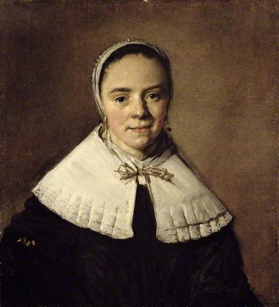 a portrait of a young woman wearing a black dress with large white collar and a white bonnet