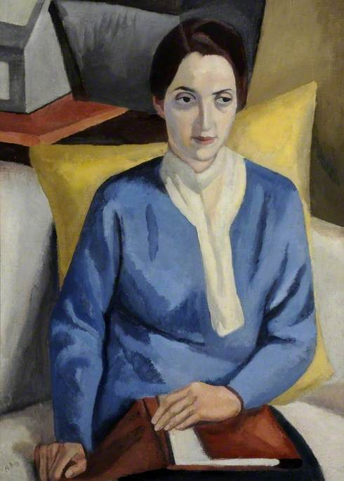 Cubist-inspired portrait of Spanish looking young woman (Dolores Courtney) seated on a sofa beside table and boxes, holding a portfolio in her lap