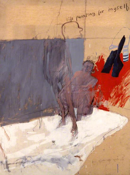 Oil on canvas showing a life drawing study with two nude men, one sitting and one standing on a mattress in a room with grey and red background and hanging clothes; inscribed by outline of head above 'life painting for myself'.