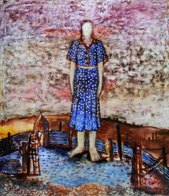 Expressionist image of the figure of a girl in giant scale above an enclosed blue shaded yard or homestead with a pebbled ground and a curved and pointed entrance gate with corrugated iron walls either side. The circular space in which the giant girl stands in bare feet also has scale figures of a woman and child, two ladders with strings attached to posts in the fence and several figures lying on the ground on the left with another leaning beside the left ladder. The giant mythical sized girl is wearing a bright blue and white spotted dress with brown collar and bodice edges, with a white belt. Her pale arms are held by her sides and her face is a blank white oval above her neck with hair around the sides. Outside the corale area is a desert landscape with some chimney towers smoking on the horizon, with a mottled pink and white sunset sky above