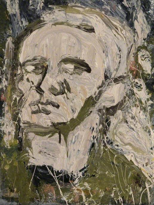Oil on board showing an expressionist impasto portrait of the artist looking up to the left in muted pinkish grey flesh tones and heavy black and brown features.
