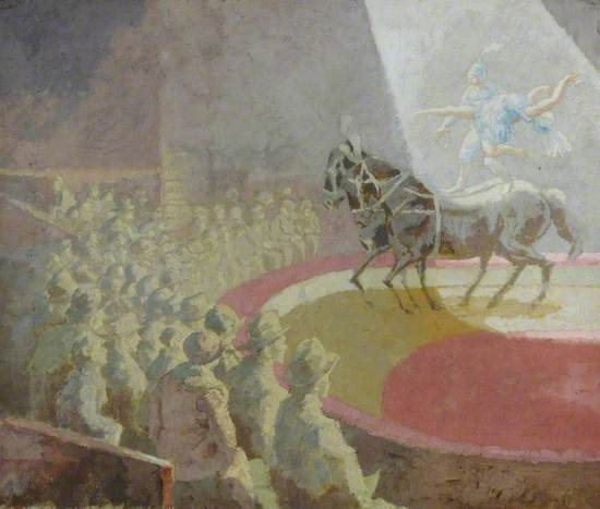 Oil on canvas showing a circus ring with performing horses and riders, standing and dancing on their backs, while the faded figures of the audience are outlined in monochrome by contrast to the bright light and colour of the stage