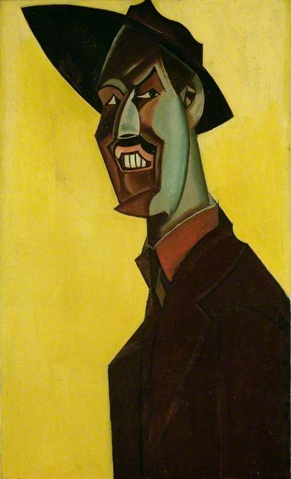 Hard angled Vorticist portrait of the artist as a young man with exagerrated, angular features in dark outline and strong colours wearing dark jacket and hat against ochre yellow background.
