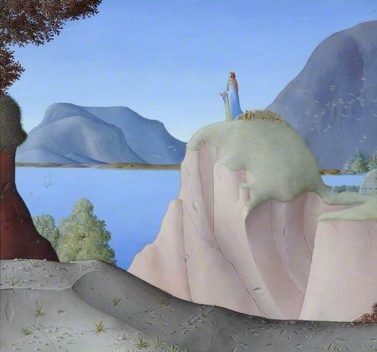 Illustrative painting on the Greek legend of Sappho, with incised outlines of mountain landscape with figure of Sappho on top of a cliff overlooking an inlet bay, with foreground details of island plants, trees and part of a built wall.