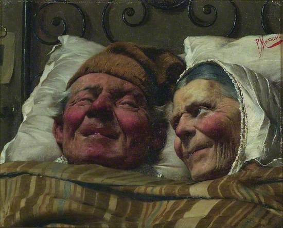 head and shoulders painting of an elderly man and woman lying in a bed.