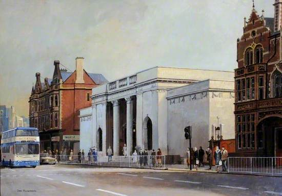 A painting showing the front eterior of the Ferens Art Gallery. There re people walking outside and a blue and white bus about to pass on the road in front..