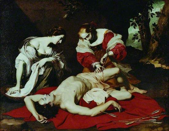 Oil on canvas of an Italian baroque scene of a wounded Saint Sebastian, shot with arrows and lying naked apart from a loin cloth, with two finely dressed young women leaning over him and one (Irene) is removing an arrow from his thigh.
