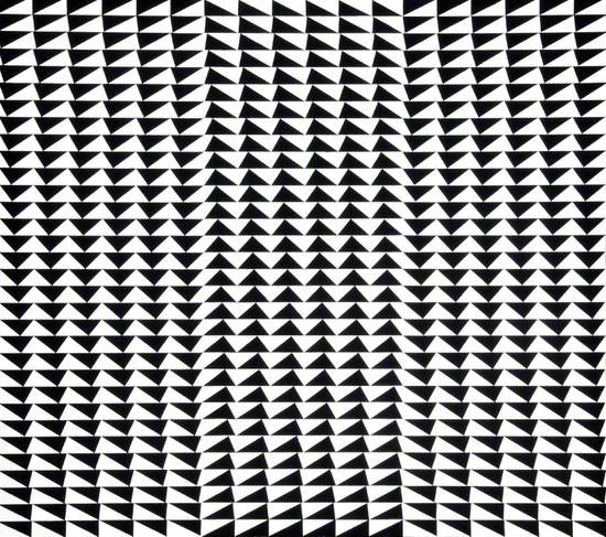 Optical painting of geometric pattern with black triangles on white, at varying angles in network of regular groups.