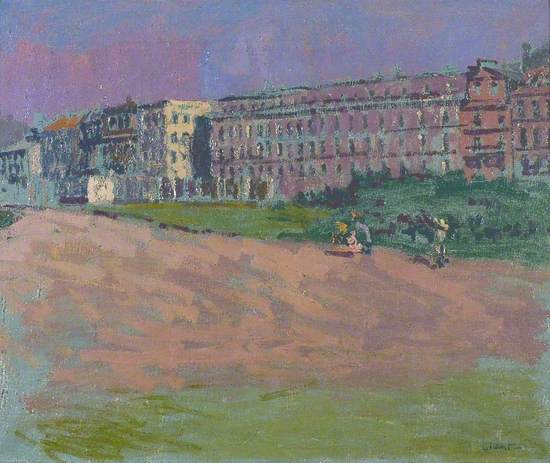 Oil on canvas showing sea front hotels in Dieppe with figures walking along the shore in the foreground, with bushes between them and the row of buildings, comprising the Hotel Royal as the largest building in the centre.