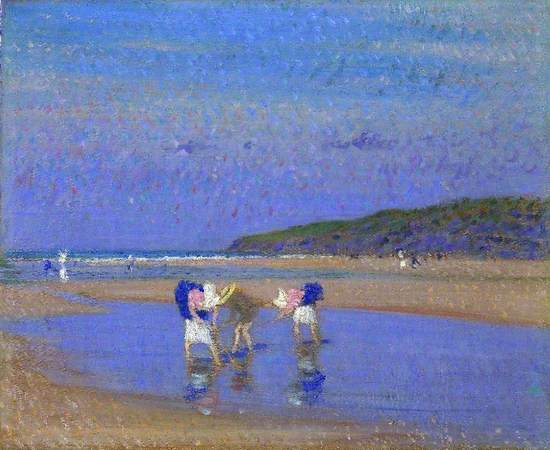 Oil on canvas showing a post-Impressionist beach scene with figures of three young girls in Victorian beach dress holding sticks with which they are searching in a pool on water, with shoreline, other figures, headland and sky in luminous colour harmonies.