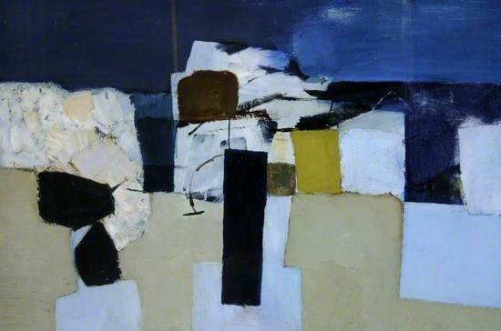 This painting shows part of the coastal defences which are in place along much of the British coastline. Initially they appear as an abstract assemblage of two-dimensional geometric shapes. However, the horizontal bands of the sand and sky become clearly recognisable, and the strong overlapping shapes of the boulders give the whole a sense of depth and space