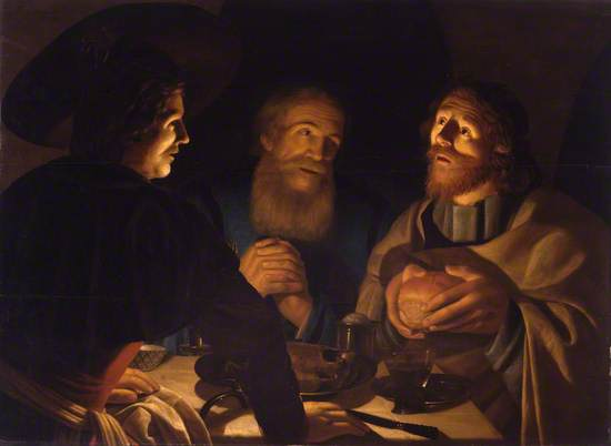 A scene of three men in a dark interior at a table illuminated by candlelight. Two are bareheaded with beards and the other with wide brimmed hat is in the foreground. Vessels and a glass are on the table. The man on the right holds a loaf of bread in his hands.