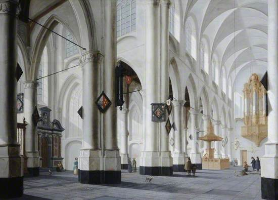 Oil on panel Dutch church interior painting, with high pillars and arcades, figures, dogs and a man digging a grave on the right near the pulput.