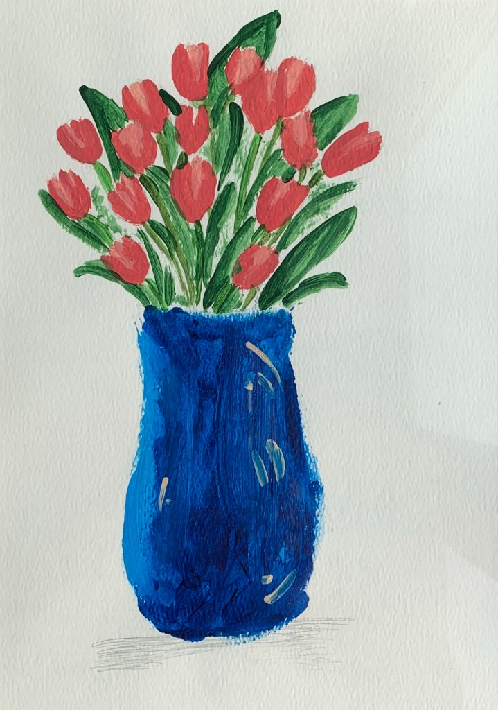 Painting of a blue vase of red tulips.