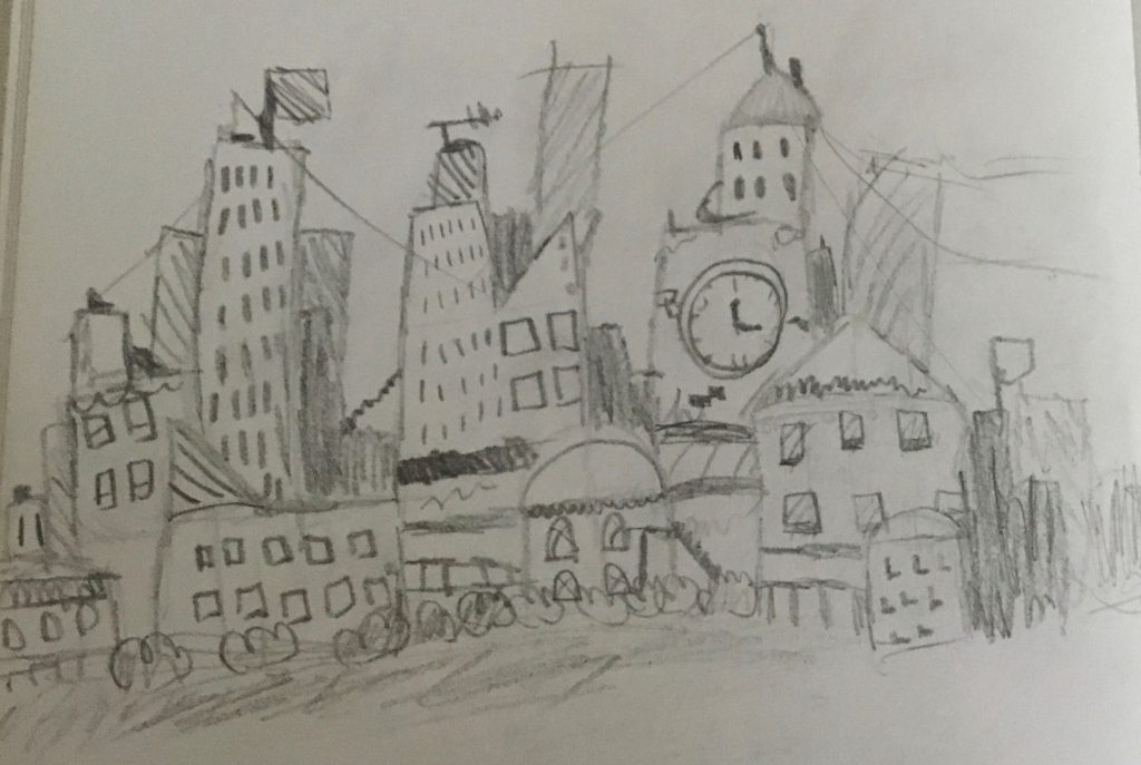 Pencil drawing of a cityscape.