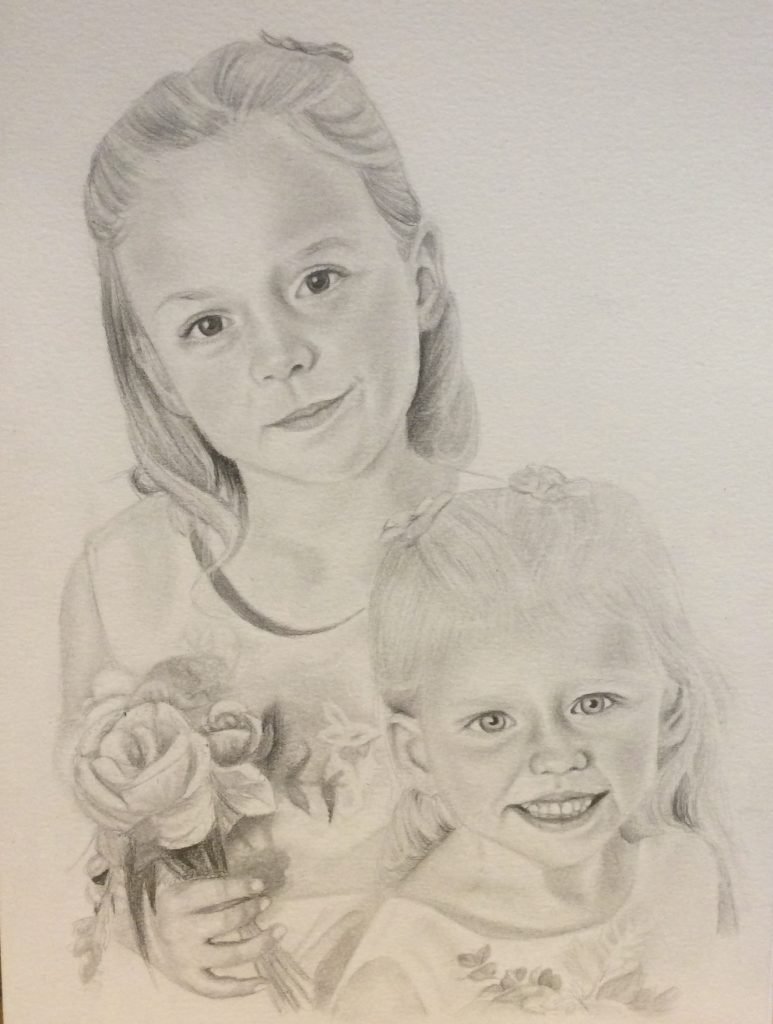 Pencil drawing of two sisters.