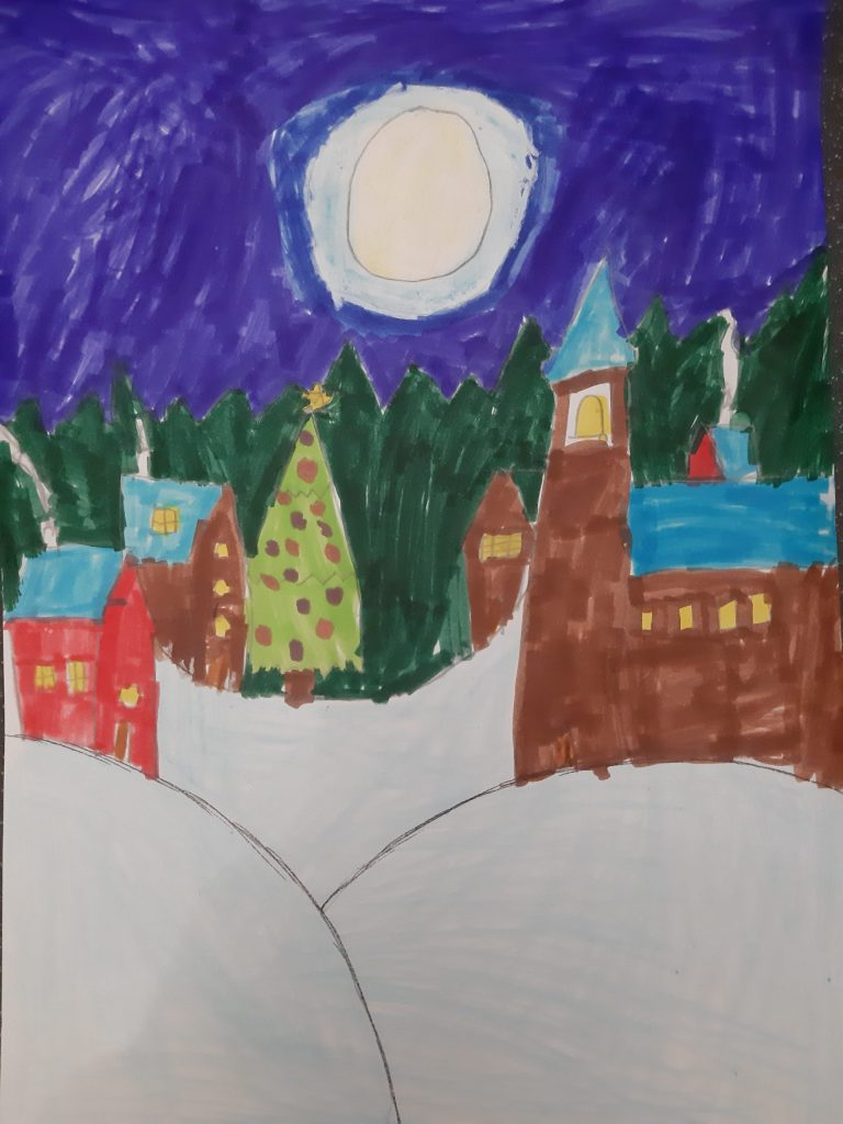 Drawing of a winter village scene with snow and a large Christmas tree.
