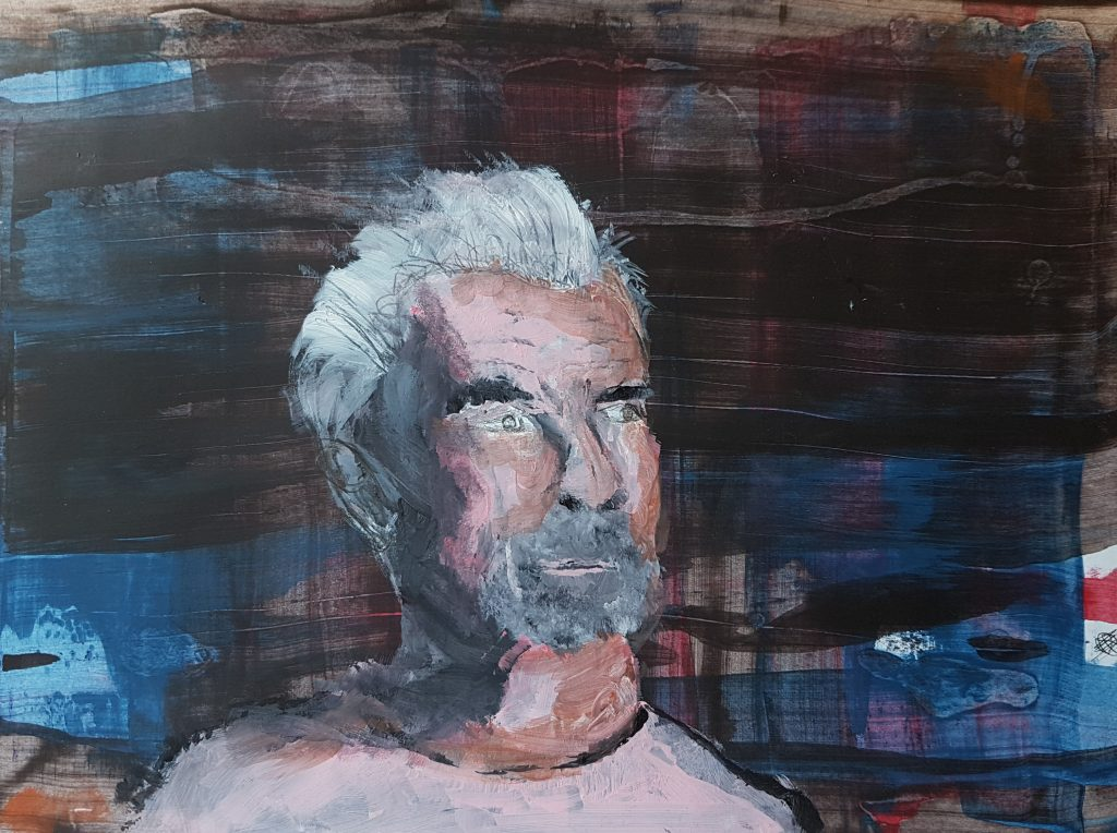 A painting portrait of a man looking to the side, against a dark background.