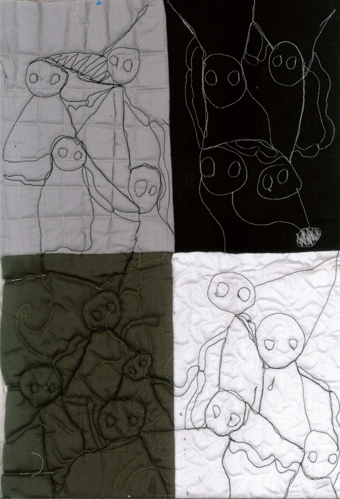 Embroidered drawings on different colour materials.