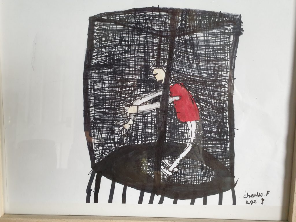 Drawing of a person bouncing on a trampoline.