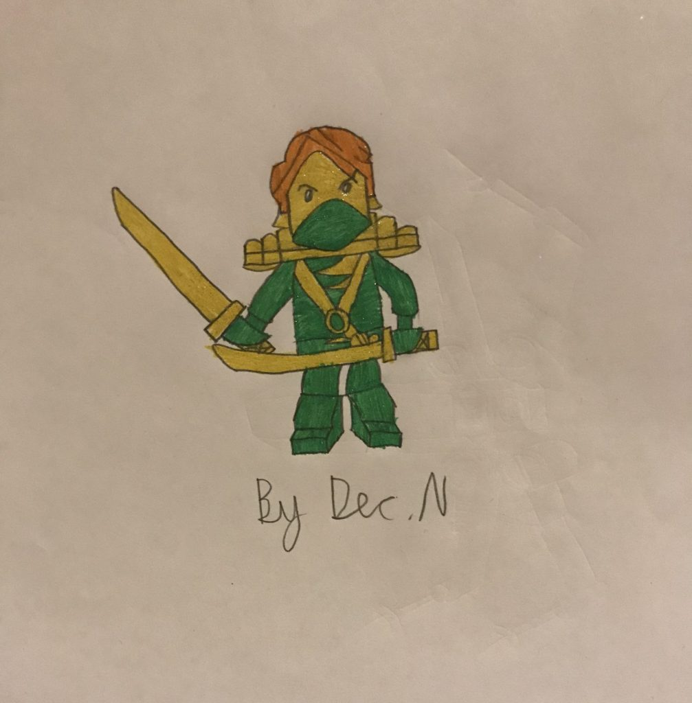 Drawing of a Lego figure in green, holding swords.