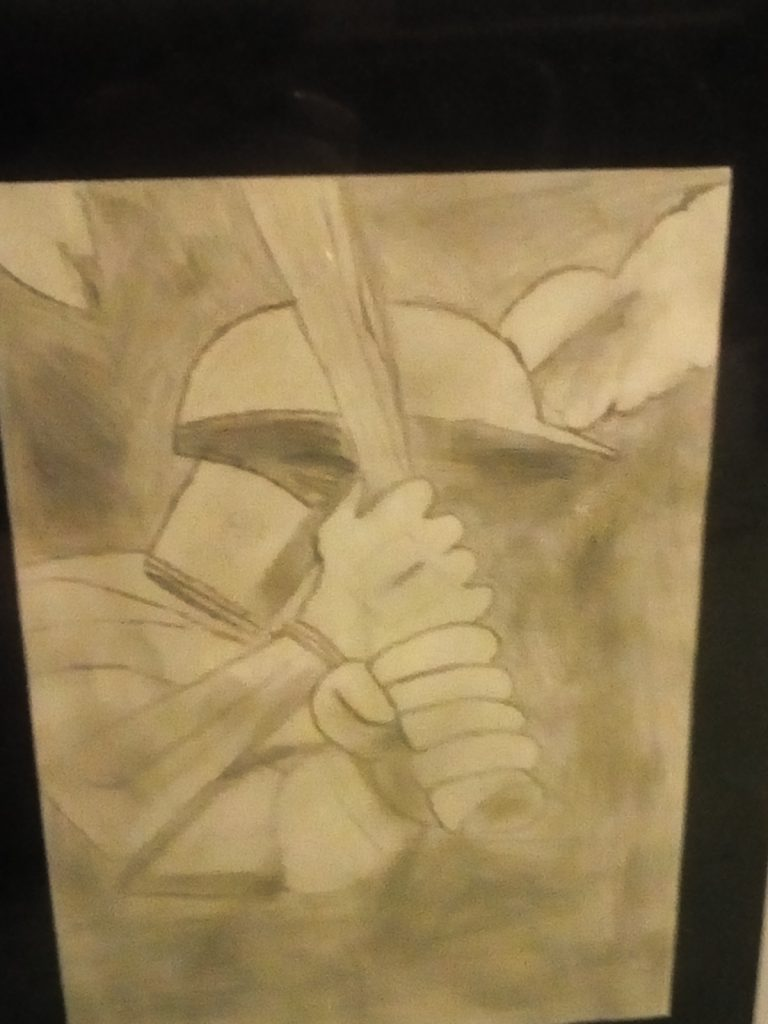 Pencil drawing of a sports figure in a helmet holding a bat.