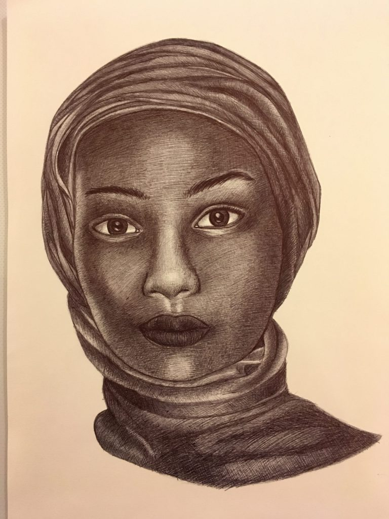Portrait drawing of a Lady.