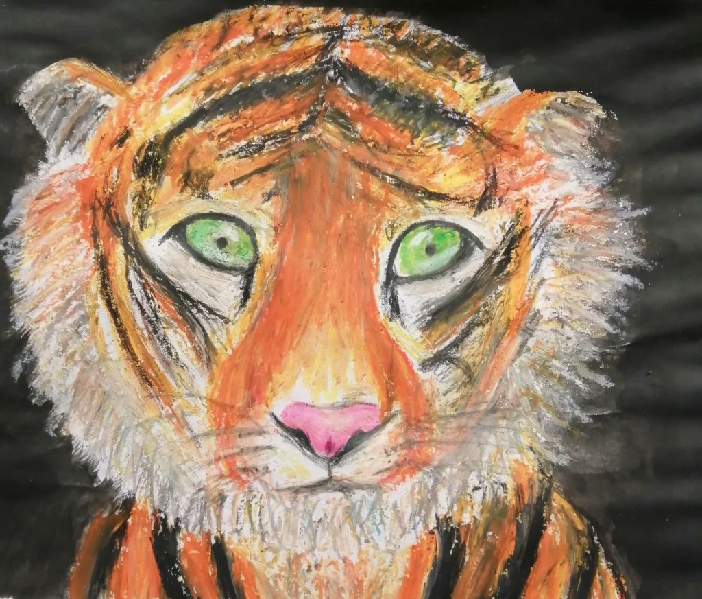 Artwork of a young tiger, with green eyes.