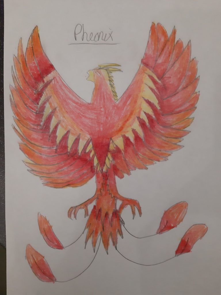 Colourful pencil drawing of phoenix rising up.